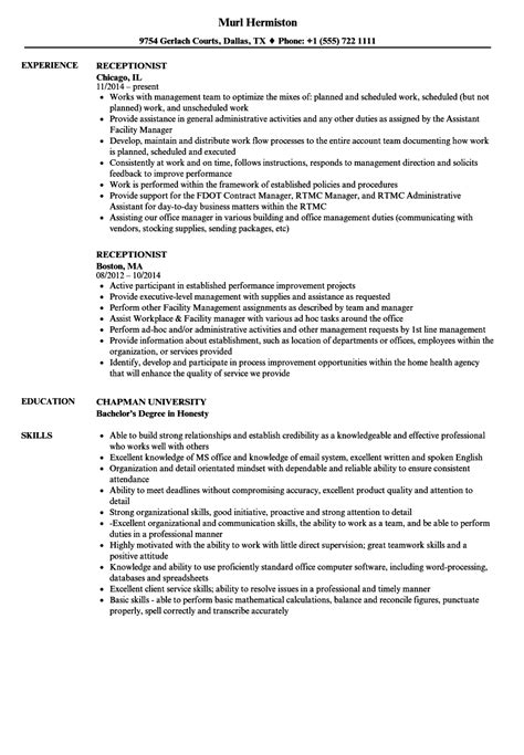 pretty great receptionist resume exles images resume