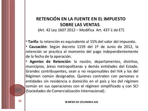 se define la fecha de causacin del impuesto a la riqueza la cual sistema colombiano de retenciones 2013