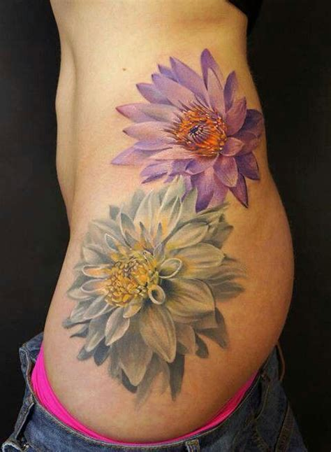 tattoos without outlines 3d flowers pink inspiration