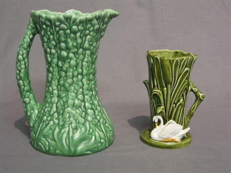 Sylvac Vases by Lot No 689 A Green Glazed Sylvac Vase In The Form Of Reeds