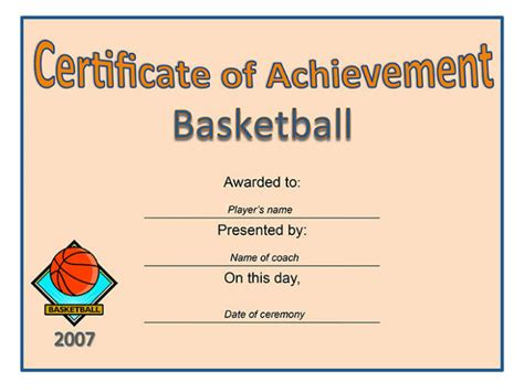 sport themed certificate of achievement template free