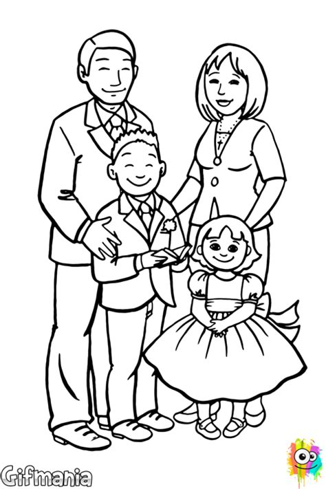 coloring pages of nuclear family ครอบคร วท สง างาม สม ดระบายส