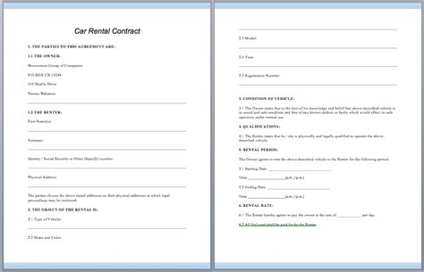 car rental contract template contractguru