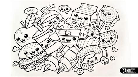 kawaii chibi dancing food black white line drawing