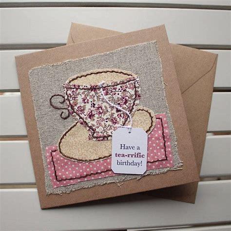 Sewn Cards Handmade - birthday card handmade sewn beige floral teacup