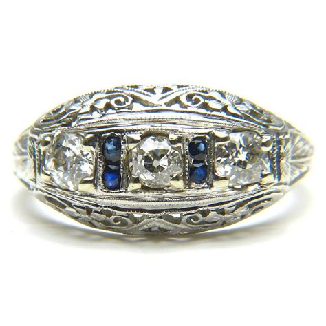 deco filigree rings and sapphire deco filigree ring from