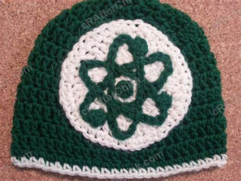 crochet pattern logos big bang theory show atom logo inspired beanie hat crochet