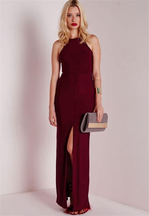 Venesia Prada Maroon Dress Gamis Maxi missguided slinky front split maxi dress burgundy in purple lyst