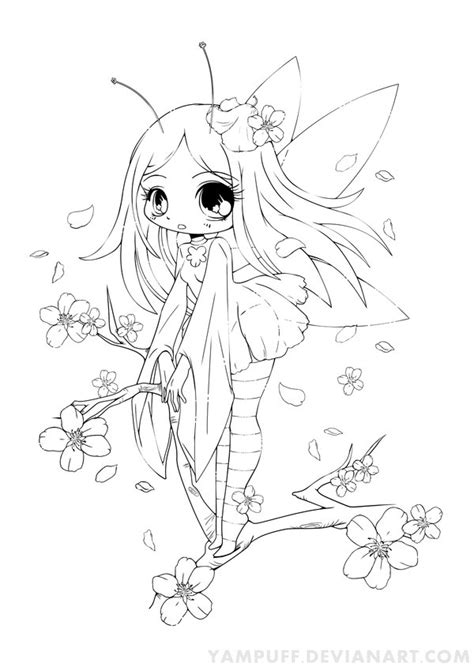 fairy cat coloring page cherry blossom fairy lineart commish by yampuff found