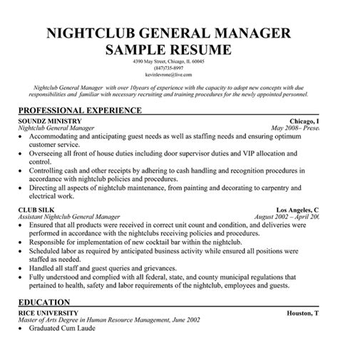 free nightclub security resume exles