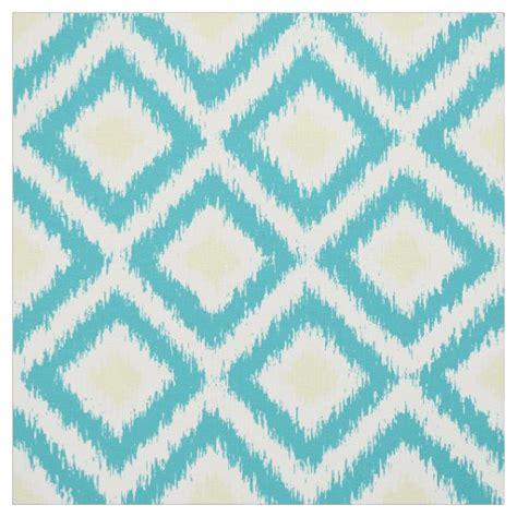 yellow diamond pattern fabric large scale aqua yellow ikat diamonds pattern fabric zazzle
