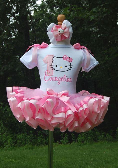 hello ribbon trim tutu set in pink by