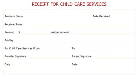 Child Care Receipt Template professional receipt for child care services