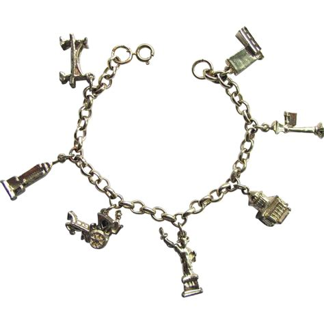 vintage new york city charm bracelet with city landmarks