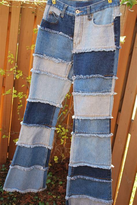blue denim patchwork quilt patch hippie small retro