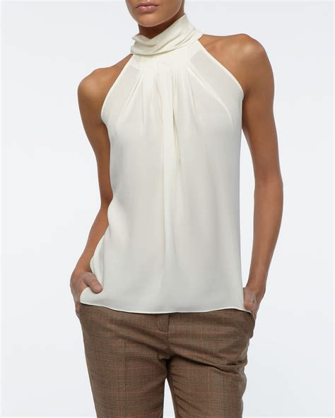 Forever21 Pleated Blouse White T3010 1 michael kors georgette pleated blouse ivory in white lyst