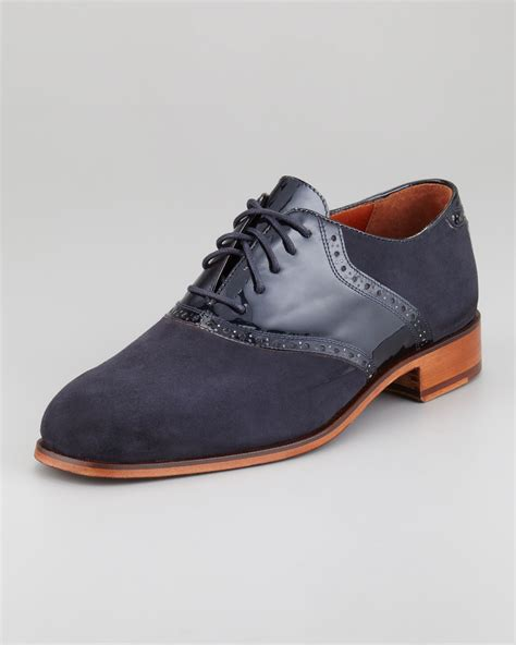 florsheim by duckie brown suede patent saddle oxford in