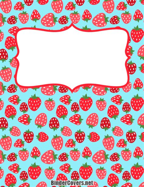 templates for school book covers printable strawberry binder cover