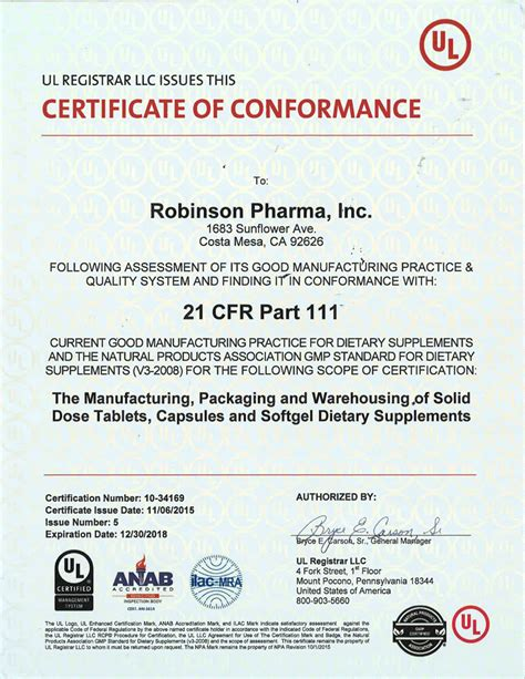 supplement certification certifications robinson pharma inc
