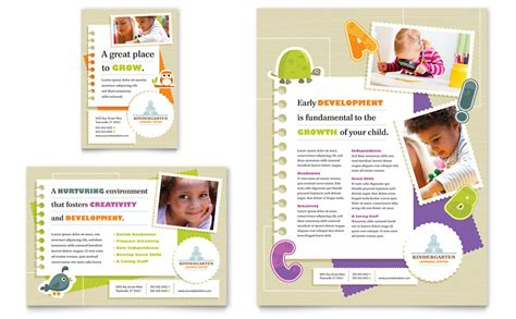 Kindergarten Flyer Ad Template Word Publisher Free Publisher Templates