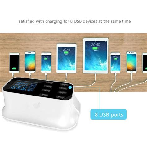 Smart Wall Charger 8 Usb Port With Led Display smart wall charger 8 usb port with led display white jakartanotebook