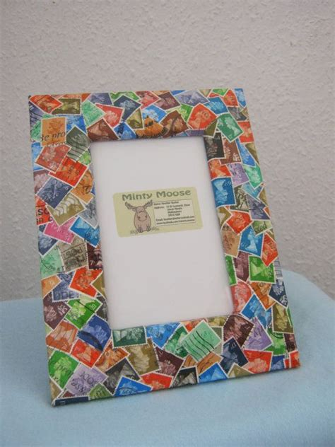 Decoupage Photo Frame - upcycled postage st decorated photo frame