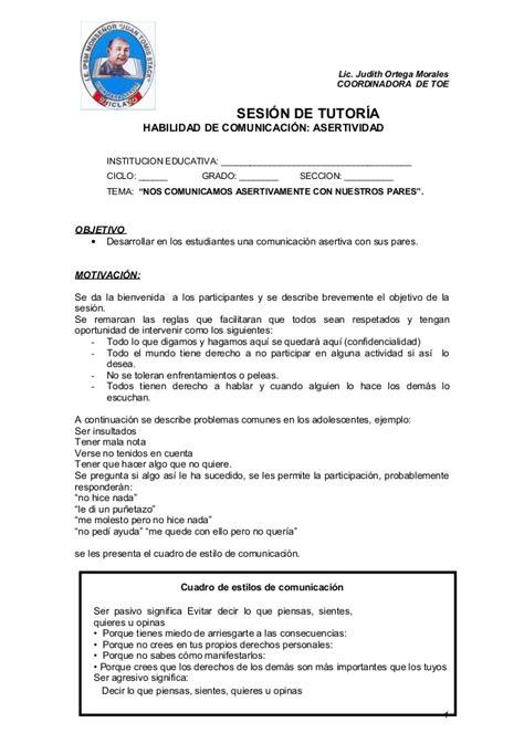 sesion de tutoria la asertividad documents sesion de tutoria la asertividad