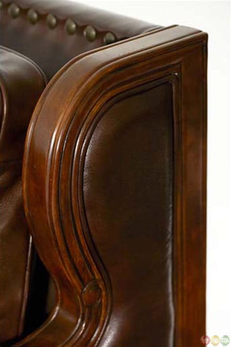 leather sofa wood trim michael amini windsor court leather and fabric wood trim