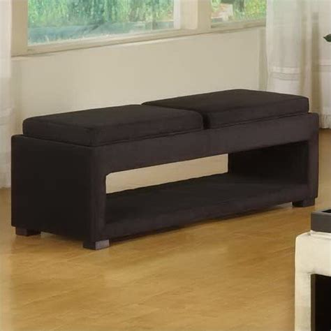 microfiber storage bench cancun microfiber double tray storage bench in black