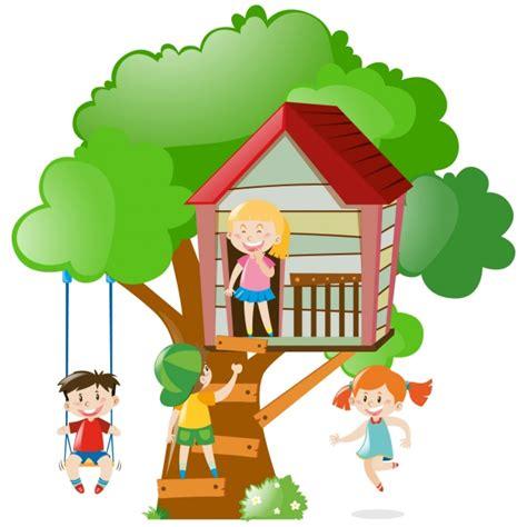 imagenes niños jugando en casa ni 241 os jugando en una casa del 225 rbol descargar vectores