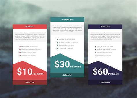 35 free photoshop psd price templates for pricing tables