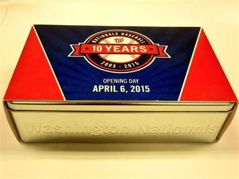 Washington Nationals Giveaways - commemorative tin let teddy win