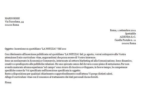 lettere commerciali italiano esempi lettera di accompagnamento esempio di risposta ad un