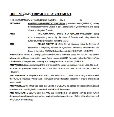 aid agreement template memorandum of agreement template 12 free word pdf