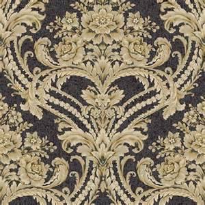 Rose Blinds Bq3890 Black And Gold Baroque Floral Damask Wallpaper