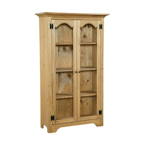 Pine Bookcase With Doors Solid Pine Bookcase W Glass Doors Country Furniture