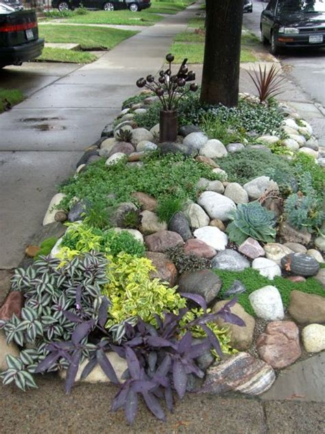 diy rock garden diy low maintenance rock garden no link this is for a roadside spot succulents