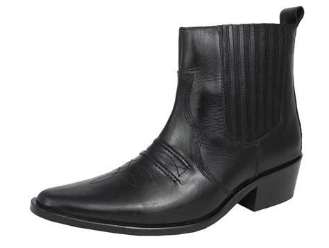 mens gringos black leather cowboy cuban heel western zip