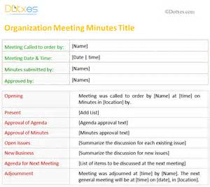 meeting minutes template for organization dotxes
