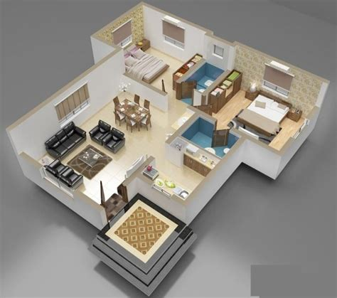 3 room 3d house plan 3 bedroom house floor plan 3d amazing architecture magazine