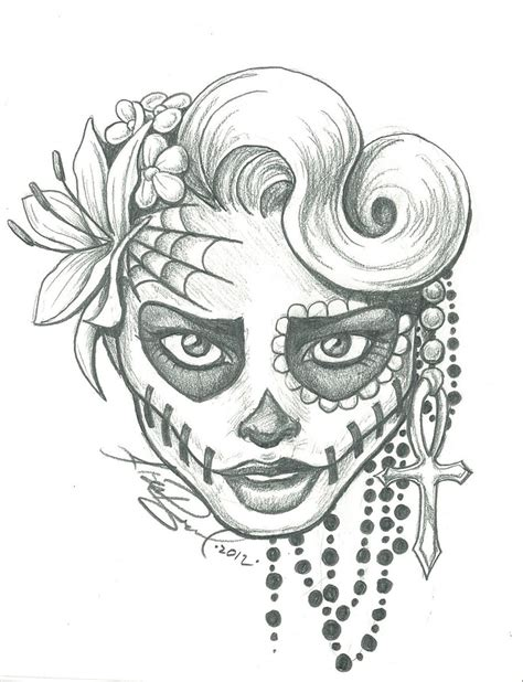 Essayer Espagnol Trad by Skull Sugar Skull Two By Leelab Traditional Drawings Macabre Horror Took Dessin