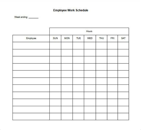 blank monthly work schedule template templates resume