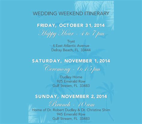Wedding Weekend Itinerary Template 7 Free Word Pdf Documents Download Free Premium Templates Weekend Itinerary Template