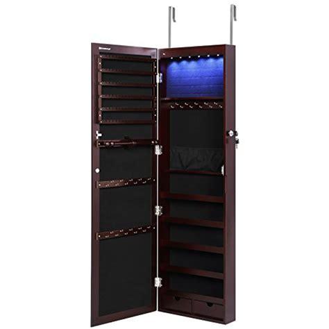 Door Jewelry Cabinet by Songmics 6 Leds Jewelry Cabinet Lockable Wall Door Mounted
