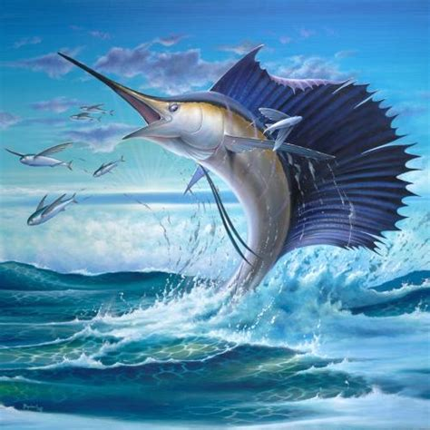 accent tiles sailfish with flying fish accent tile