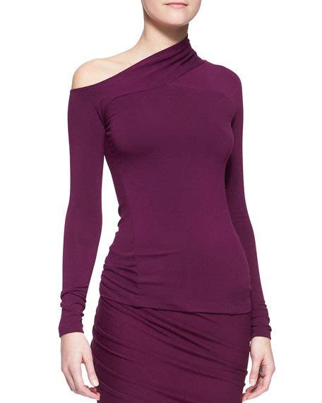 one shoulder drape top donna karan long sleeve one shoulder drape top