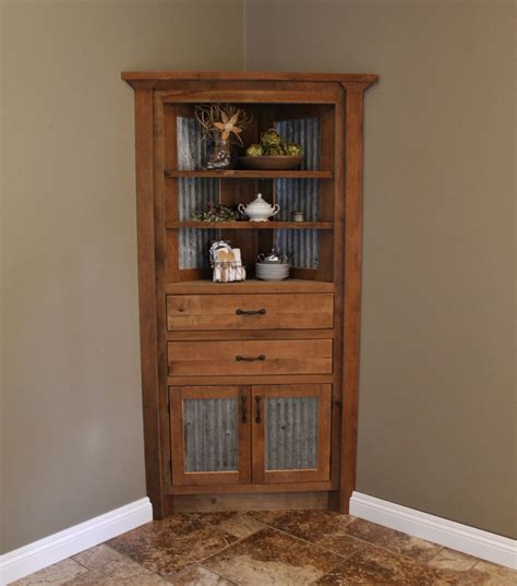 Rustic Tall Wood Corner Liquor Cabinet With Double Doors Corner Cabinet Door