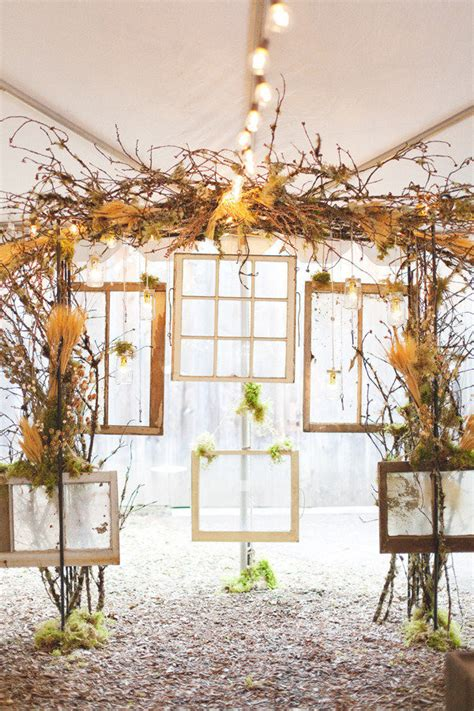 Banister Planters Rustic Country Branches And Frames Wedding Backdrop