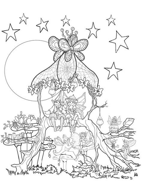 printable fairy house fairies in a tree house coloring page coloring pages and