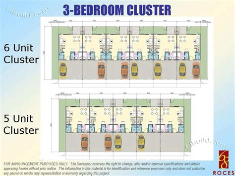 real estate home lot sale at 3 bedroom cluster floor plan
